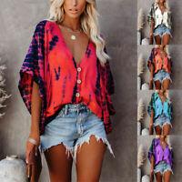 Women Gradient Colors Deep V-Neck Tops T-Shirts Summer Boho Short Sleeve Blouse