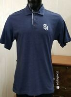 MLB San Diego Padres Majestic Navy Blue Heather Polo Golf Cotton Blend Shirt MD