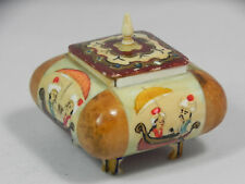 Mini Intricate Painted BONE (?) & WOOD Footed BOX Middle East Arabic (?) Trinket