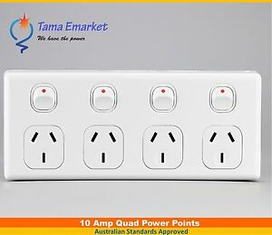10 Amp Quad Power Point 4 Gang Socket NEW Electrical Supplies 10A