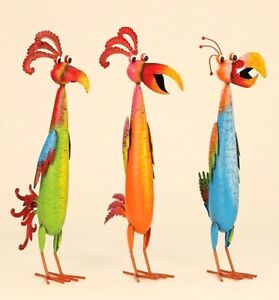 Riesen Vogel Metallfigur 53cm bunte exotische Vögel Figuren Haus Garten Deko