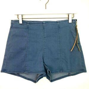 Express light wash high waist denim side zip leather tab short shorts size 2