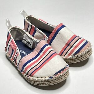 Carter's Astrid 2 Striped Espadrille Flat Shoe Toddler Size 6 Coral Slip On