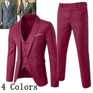 Men's Slim Fit Formal Business Tuxedos Suit Blaze Coat Pants Vest Wedding