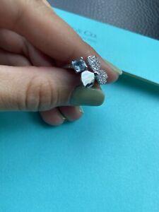 Tiffany Co Paper Flowers Diamond and Aquamarine Flower Ring Size 7