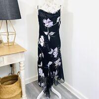 Y2K 2000s Slip Dress Black Sequin Floral Cowl Neck by Liz Jordan Size 12 - 14