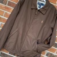 Polo Ralph Lauren Pony Logo Brown Lined Jacket with Leather Trim, Size Medium