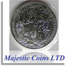 2010 Rwanda Lion 50 Francs 1 Oz .999 Silver Map of Africa Mint Blister