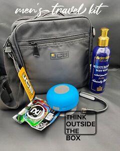 Mens Travel Kit Bag Headphones Shower Speaker Body Wash Usb Light