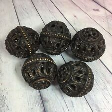 "5 Decorative Centerpiece Balls Resin Brown Scroll Hollow See Through 4"" x 3.75"""