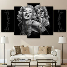 Vintage Marilyn Monroe Sugar Skull Face 5 Panel Canvas Print Wall Art Home Decor