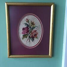 Framed Needlepoint Roses Mauve Non Glare Glass