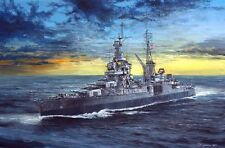 ORIGINAL WW2 NAVY WWII NAVAL ART USS INDIANAPOLIS BATTLESHIP MILITARY PAINTING