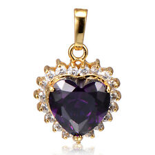 Fashion Womens 24K Gold Filled Amethyst Hearts crystal Pendant for long Necklace