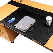 34x20 Black Edge Locked Premium Genuine Leather Office Laptop Desk Pad Mouse Mat