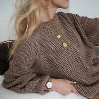 Autumn Sweater Women Loose Knitted Sweater Oversized Warm Pullovers Solid Tops