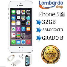 APPLE IPHONE 5S 32GB GRADO B BIANCO SILVER ORIGINALE RIGENERATO RICONDIZIONATO