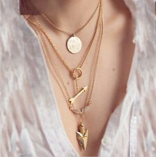Alloy Gold Plated 4 Layers Charm Choker Chain Pendant Necklace