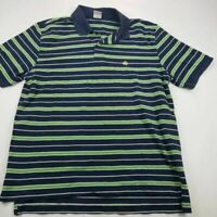 Brooks Brothers Mens 346 Polo Shirt Blue Green Stripe 100% Cotton Short Sleeve L