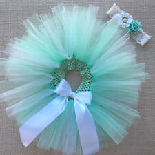 Girls Tutu Skirt & Headband - Newborn Baby - Size 2 Toddler - Tiffany Blue & Wht