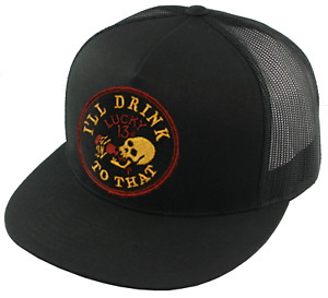 Lucky 13 I'll Drink to That Skull Tattoo Black Mesh Trucker Snapback Hat LCSB6DT