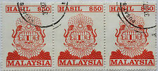 Malaysia Used Revenue Stamps - 3 pcs $50 Stamp (Old Design Big Size)