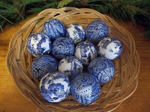 12 Blue & White Paisley Rag Balls, Farmhouse Bowl, Basket, Jar Fillers, New