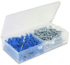 Ribbed Plastic Drywall Anchors with Screws and Masonry Drill Bit, #10-12 x 1