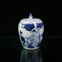 Chinese old porcelain Blue and white figure pattern lid jar Receiving  pot