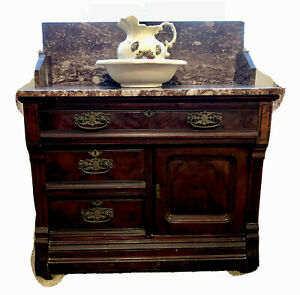 Antique Victorian Walnut Washstand With Marble Top