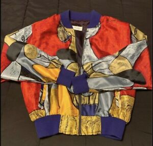 Vintage Picasso Polyester Jacket by Angela Tong Bomber Satin 🔥🔥🔥
