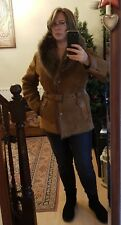 Luxurious, Genuine, Tan / Brown Shearling Hoodie Coat - Size 16 - RRP€690