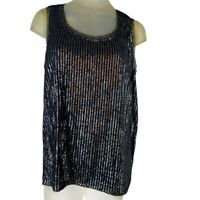 Chico's 2  Women's top black knit sleeveless sequined size Large