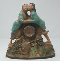 Art Deco Large Original Plaster Figurine Clock - The Lovers Circa 1930s