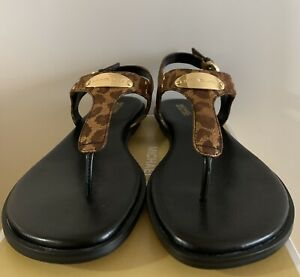 New - Women's Michael Kors Black/Gold Leather Thong Sandals Size 8