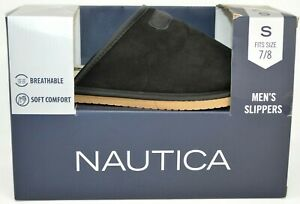 Nautica • Men's Small (7-8) BLACK • Size S • Slippers GIFTS FOR MEN • NEW