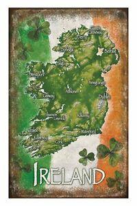 Irish Map and Tricolour 100% Cotton Tea Towel (sg)