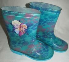Disney Frozen Elsa Anna Blue Sparkle Rubber RainBoots Toddler Girls Size 12