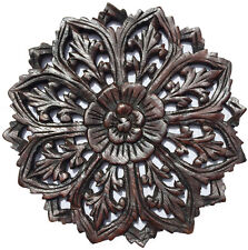 Round Wood Carved Floral Wall Art. Decorative Asian Wood Wall Plaque.Espresso12""