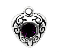4 Pc Antique Silver Rhinestone Love Heart Charm Pendants 12x10mm LC2675