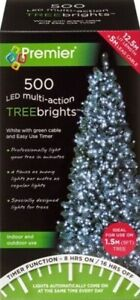 Premier 500 LED Multi-Action TreeBrights Christmas Tree Lights with Timer WHITE