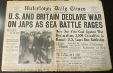 12/8/1941  NY NEWSPAPER - PEARL HARBOR BOMBED, US & BRITAIN DECLARE WAR ON JAPAN