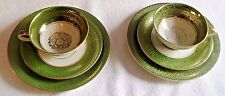 TWO SETS SCHIRNDING BAVARIA GREEN & GOLD TEACUP,SAUCER & PLATE PORCELAIN,CHINA
