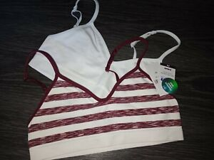 Girls justice logo 2pk seamless bra size 30 new white/burgundy striped
