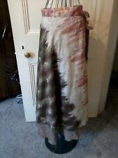 Silk summer reversible wrap around skirt, brown orange pattern, size 10-16