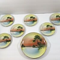 Noritake Plate Set 10 inch  handled  6 inch plates (6) House Tree Scene