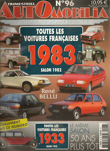 AUTOMOBILIA 96 LES VOITURES FRANCAISES 1983 (SALON 1982) & 1933 (SALON 1932)