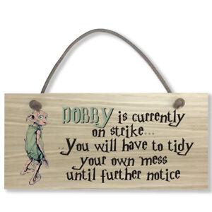 #797 DOBBY Harry Potter Oak Veneer Quality Wooden Plaque Door Hanger Sign 9x19cm