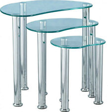 CARA CLEAR GLASS & CHROME NEST OF TABLES NEW *FREE NEXT DAY DELIVERY