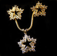 Crystal Star Necklace and Earring Set -Goldtone setting